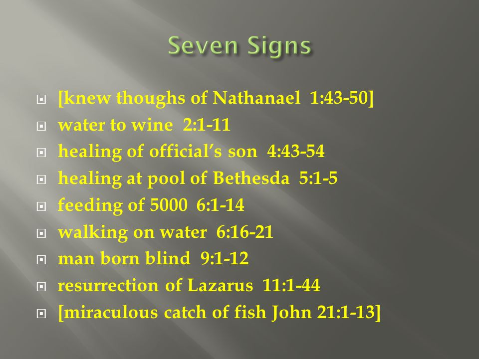 Seven Signs [knew thoughs of Nathanael 1:43-50] water to wine 2:1-11